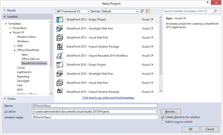 Create new SharePoint 2013 empty project